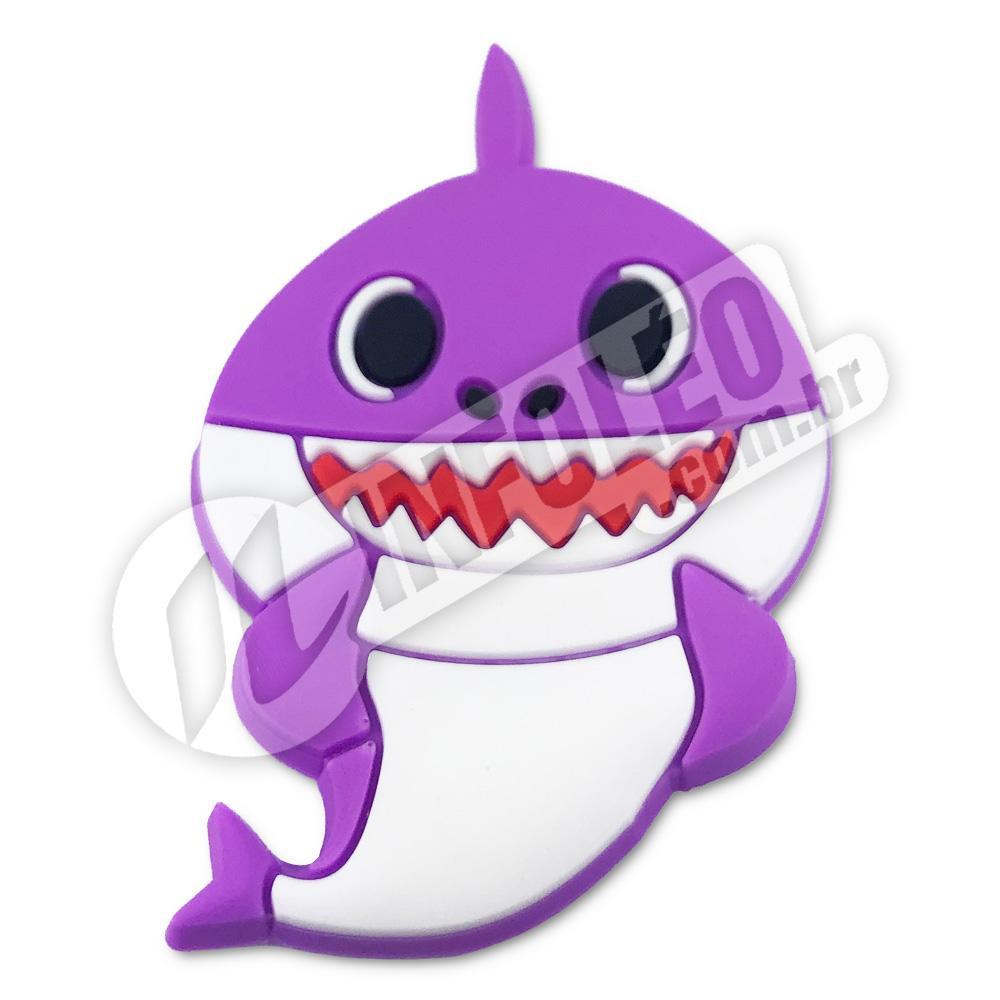 Aplique Emborrachado Tubarão Lilás Baby Shark 3,5x5,5cm - 1 unidade