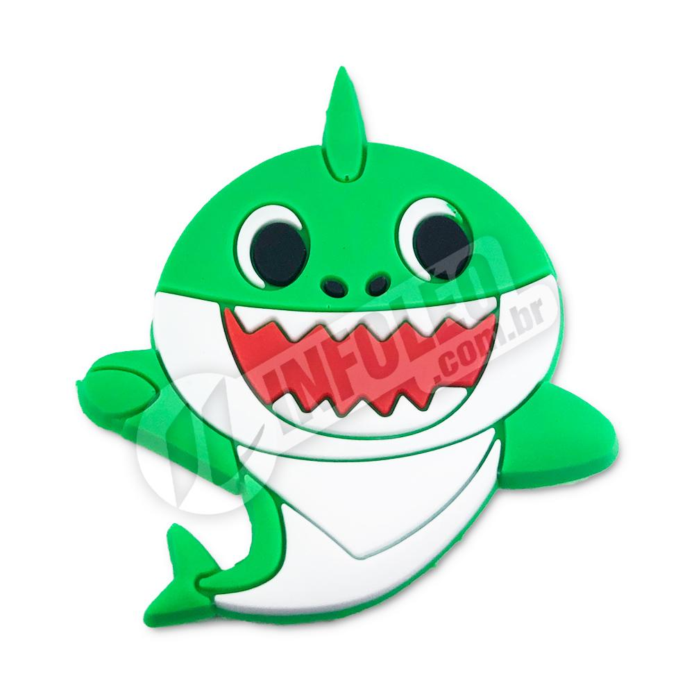 Aplique Emborrachado Tubarão Verde Baby Shark 3,5x5,5cm - 1 unidade