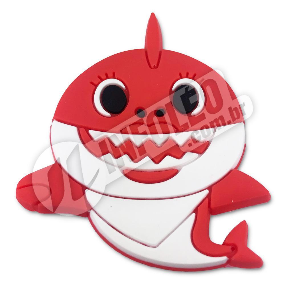 Aplique Emborrachado Tubarão Vermelho Baby Shark 3,5x5,5cm - 1 unidade