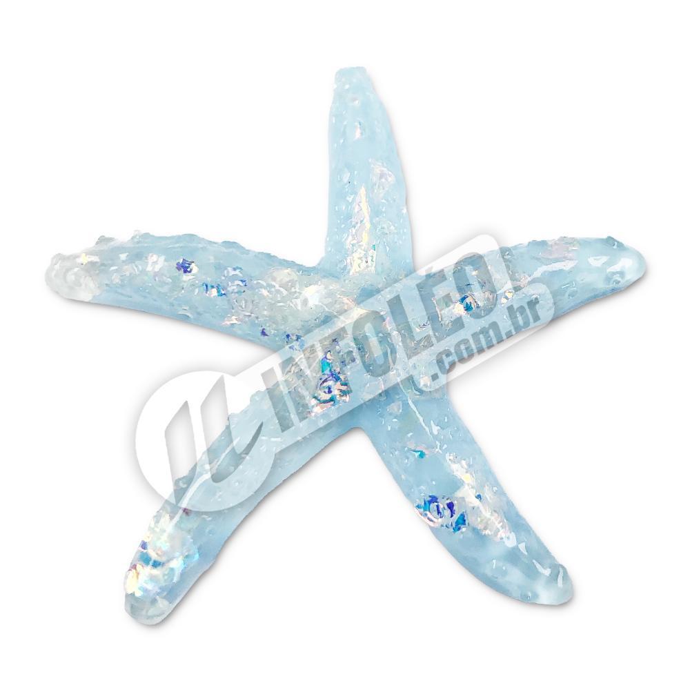 Aplique Estrela do Mar Azul 4x4cm - 2 unidades