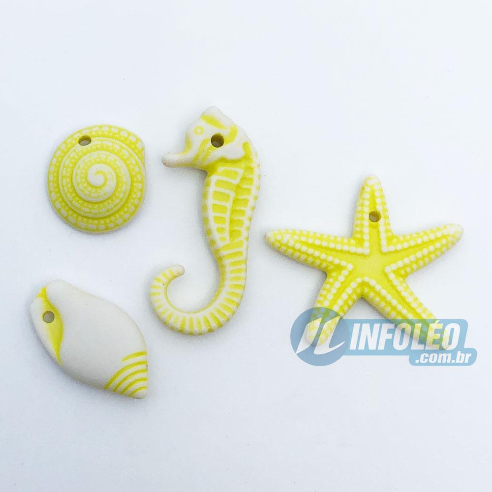 Aplique Kit Fundo do Mar Amarelo Sortidos - 10 unidades