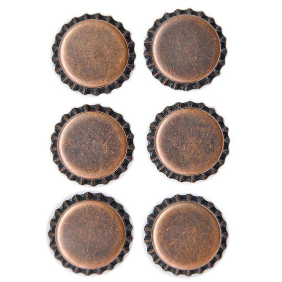 Aplique Metálico Tampinhas Adesivadas Cobre Vintage Toke e Crie - 14927 - AM128