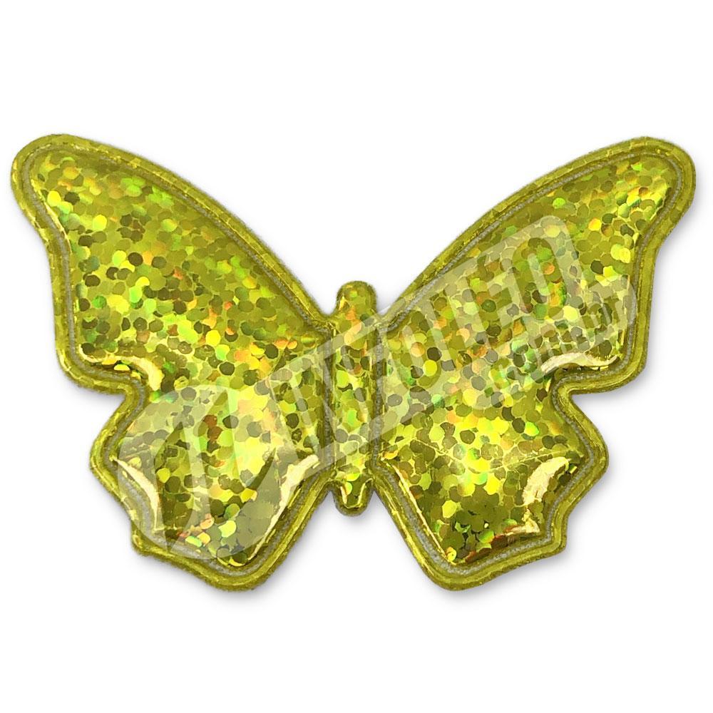 Aplique Tecido Borboleta Amarelo Ouro C/ Brilho 5,2x3,5cm - 2 unidades