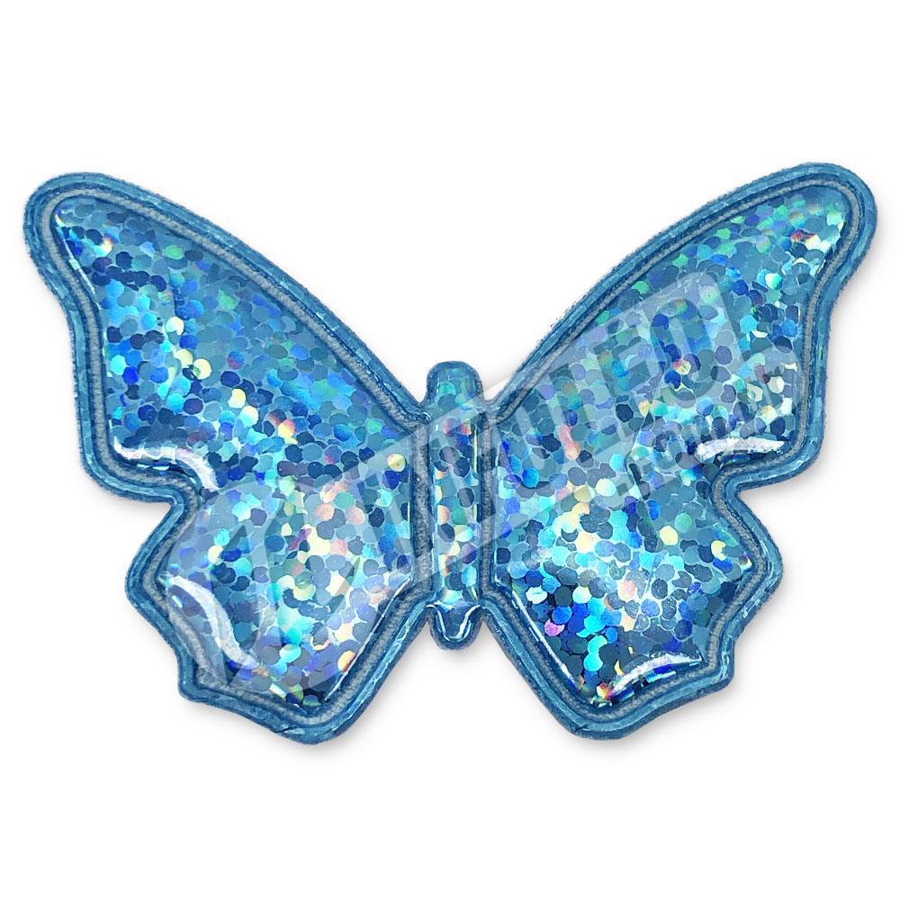 Aplique Tecido Borboleta Azul Turquesa C/ Brilho 5,2x3,5cm - 2 unidades