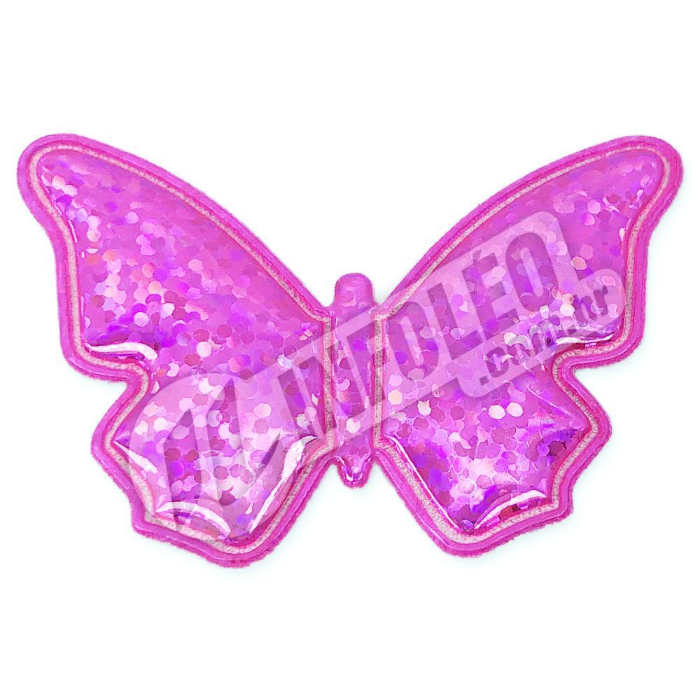 Aplique Tecido Borboleta Rosa Pink C/ Brilho 5,2x3,5cm - 2 unidades