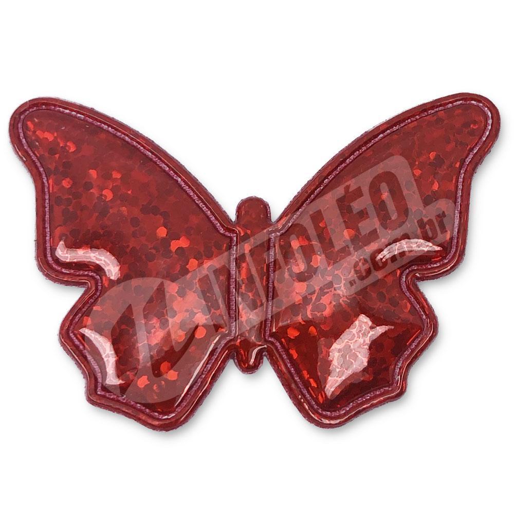 Aplique Tecido Borboleta Vermelho C/ Brilho 5,2x3,5cm - 2 unidades
