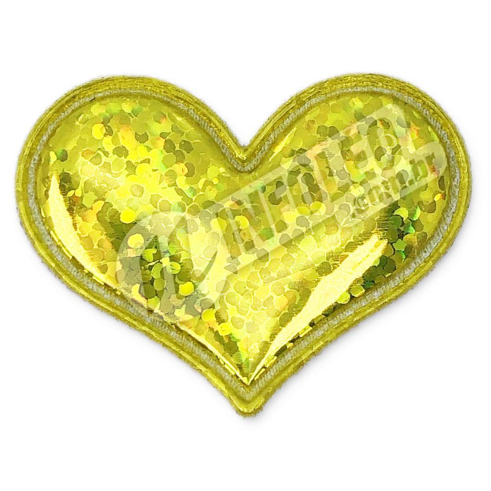 Aplique Tecido Coração Amarelo Ouro C/ Brilho 3,7x3cm - 2 unidades