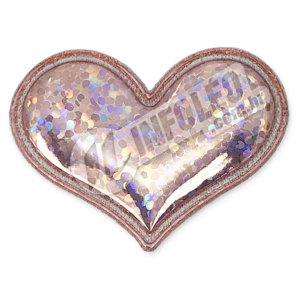 Aplique Tecido Coração Dourado C/ Brilho 3,7x3cm - 2 unidades