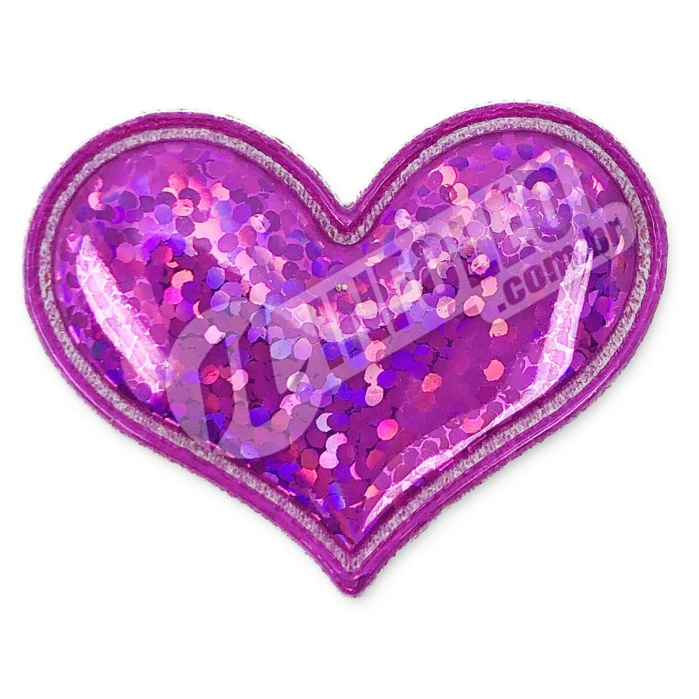 Aplique Tecido Coração Púrpura C/ Brilho 3,7x3cm - 2 unidades