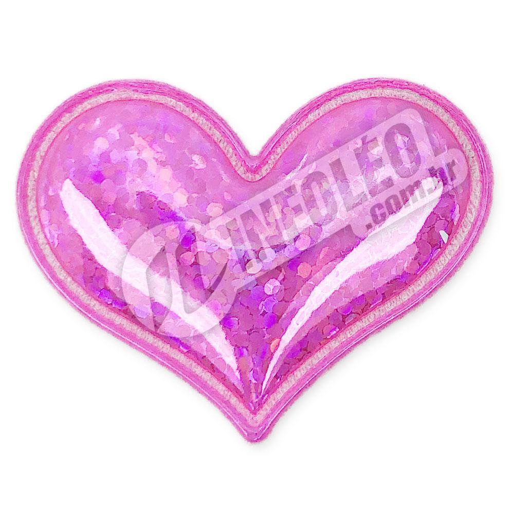 Aplique Tecido Coração Rosa Pink C/ Brilho 3,7x3cm - 2 unidades