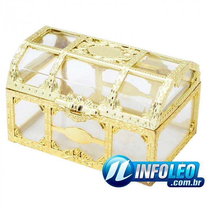 Baú Dourado C/ Acrílico 6,5x4,5x5cm - Unidade