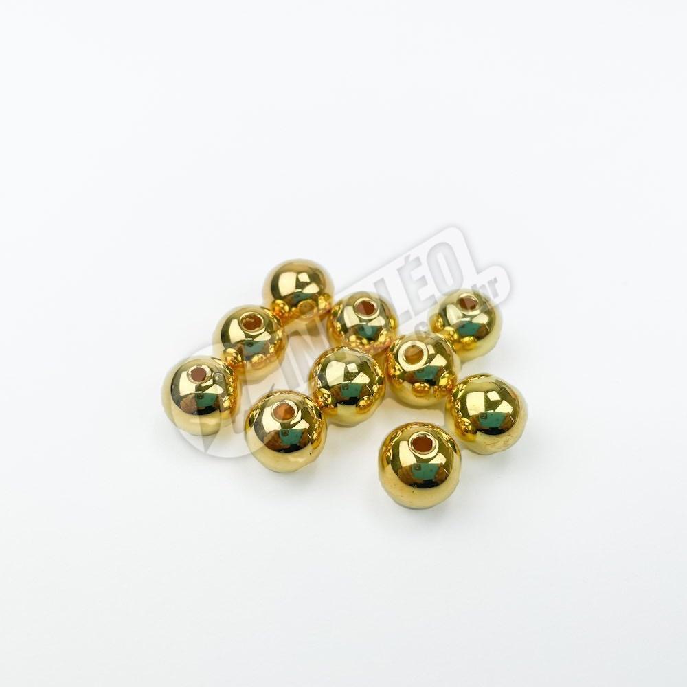 Bola Lisa C/ Furo 10mm Dourado - 10 unidades