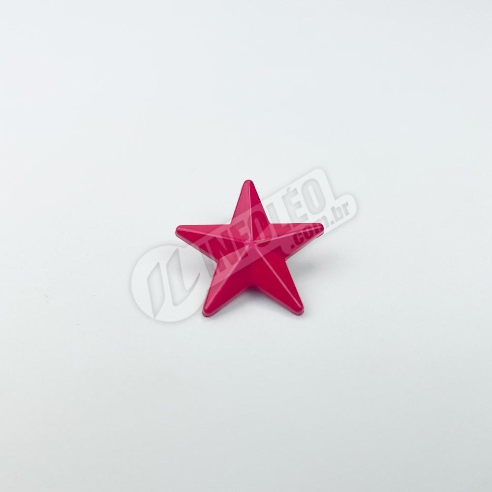 Botão Estrela Rosa Escura Plástico 2x2cm - 10 unidades