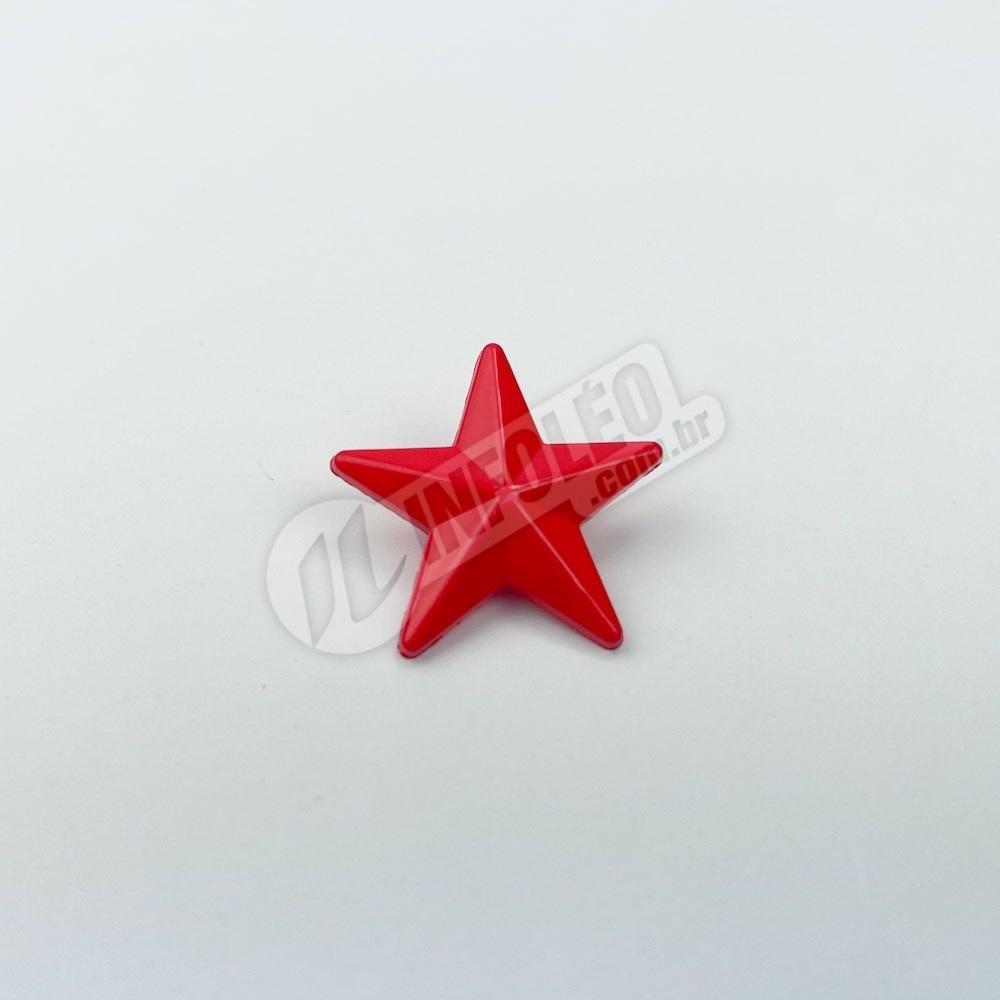 Botão Estrela Vermelha Plástico - 10 unidades