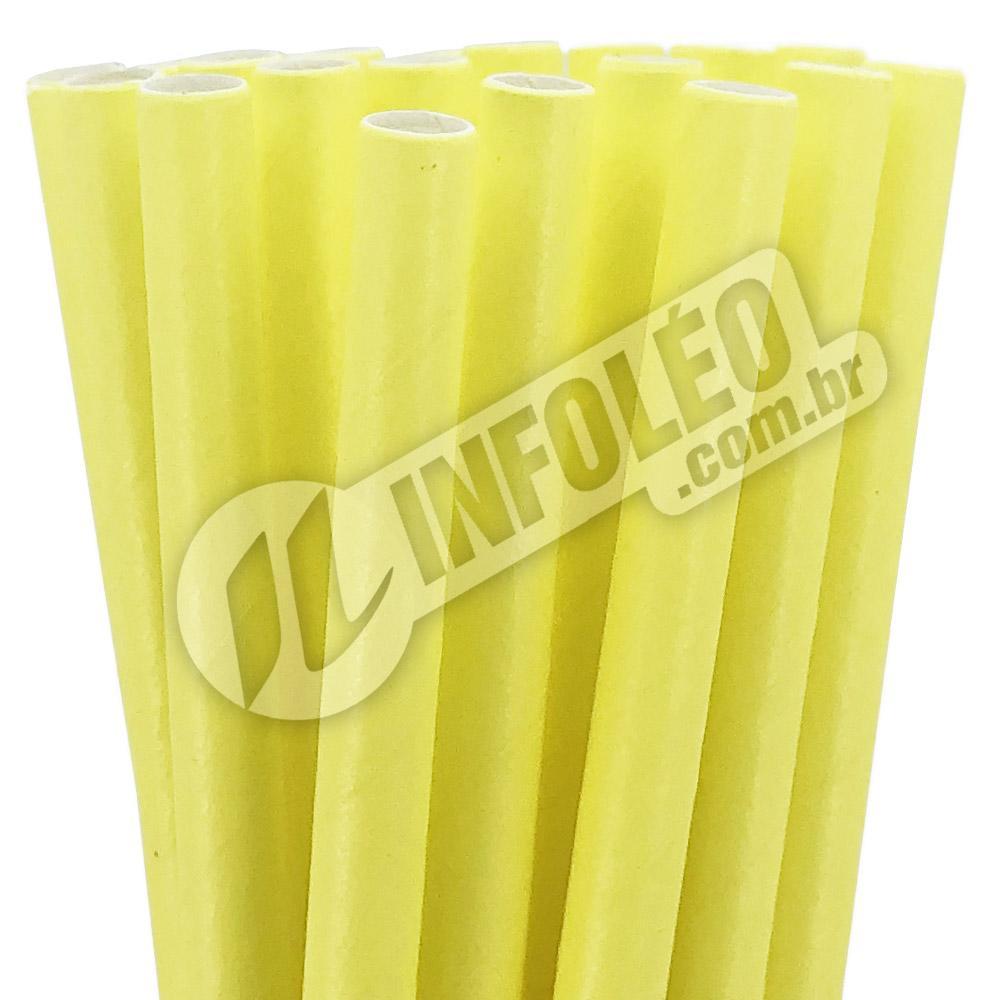 Canudo de Papel Amarelo - 20 unidades