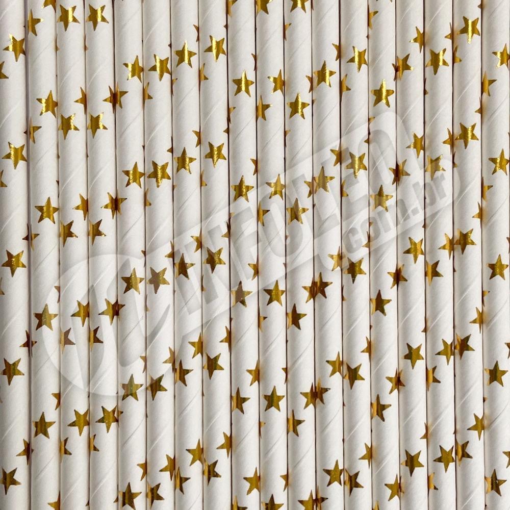 Canudo de Papel Branco com Estrela Dourada Laminado Metalizado 6mmx200mm - 20 unidades