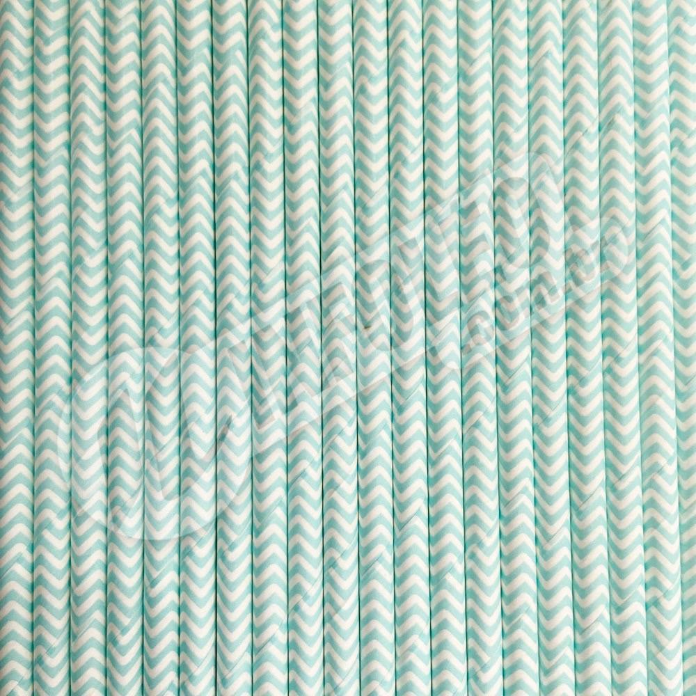 Canudo de Papel Chevron Azul Tiffany e Branco 6mmx200mm - 20 unidades