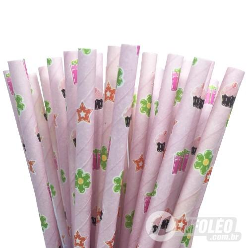 Canudo de Papel Cupcakes/Flores/Bolos - 20 unidades
