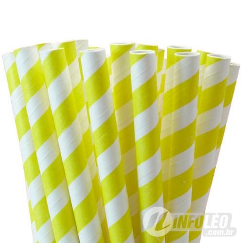 Canudo de Papel Listra Amarelo C/ Branco - 20 unidades