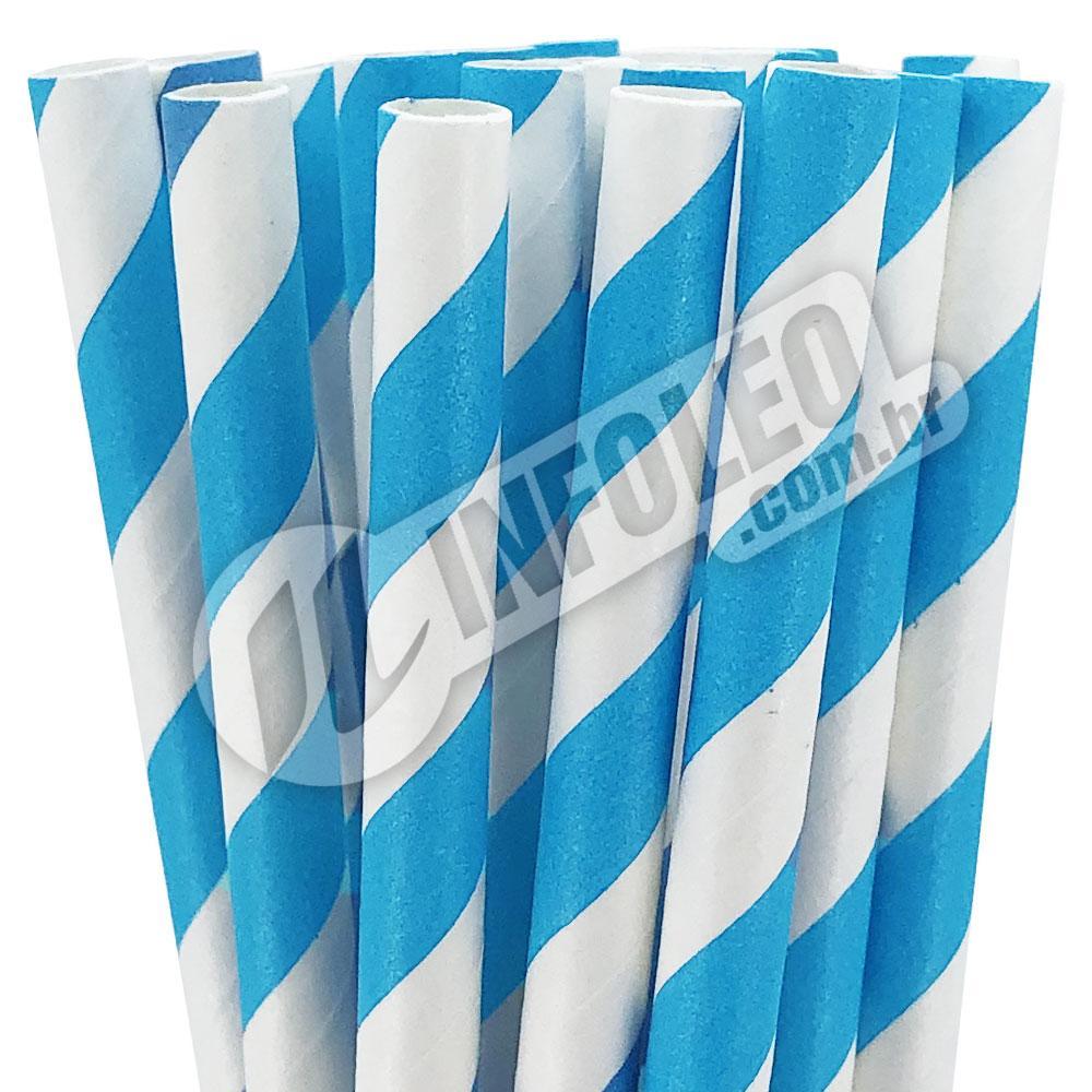 Canudo de Papel Listrado Azul Claro e Branco - 20 unidades