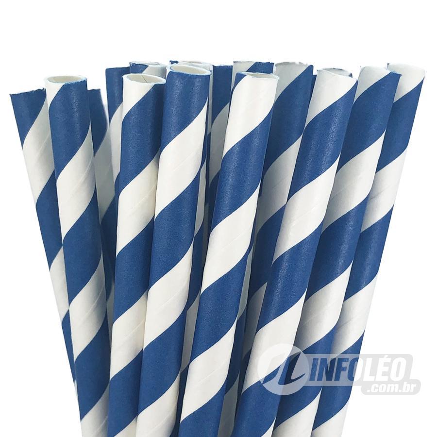 Canudo de Papel Listrado Azul Royal e Branco - 20 unidades