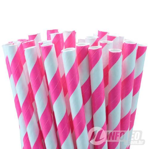 Canudo de Papel Listrado Rosa Pink/Branco 6mmx200mm - 20 unidades