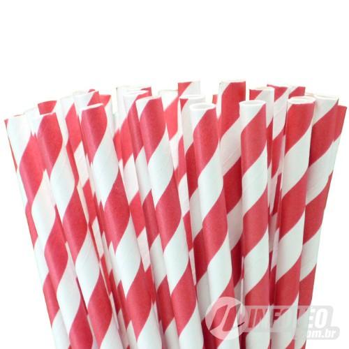 Canudo de Papel Listrado Vermelho e Branco - 20 unidades
