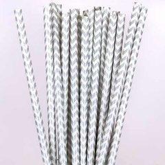 Canudo de Papel Metalizado Chevron Prata C/ Branco - 20 unidades