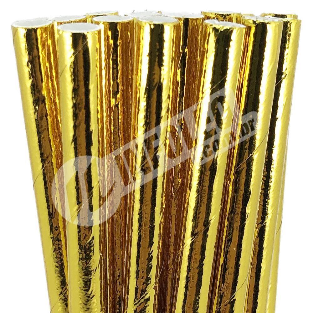 Canudo de Papel Metalizado Dourado 6mmx200mm - 20 unidades