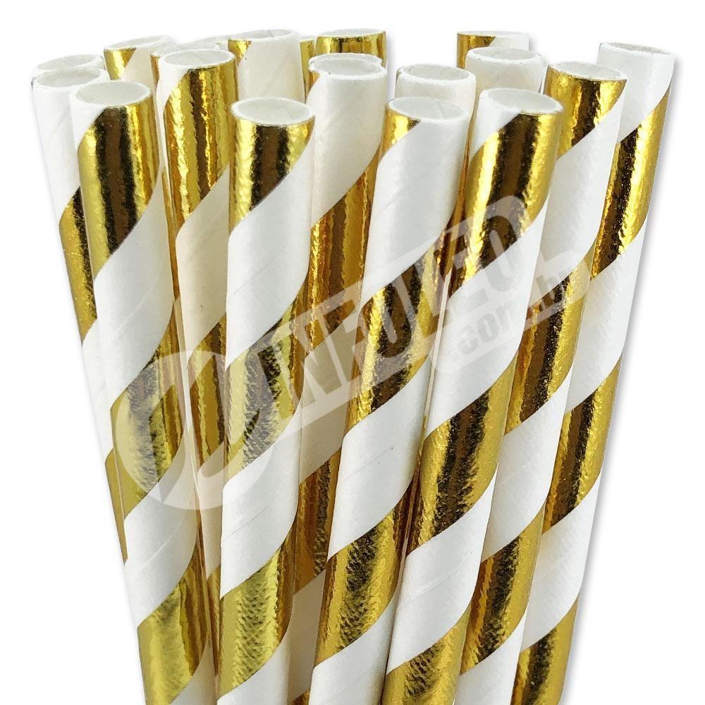 Canudo de Papel Metalizado Listra Dourado C/ Branco 6mmx200mm - 20 unidades