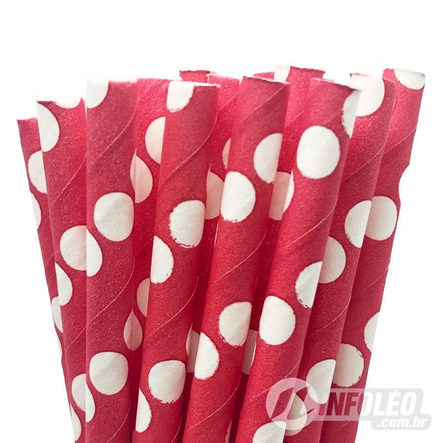 Canudo de Papel Poá Grande Branco C/ Vermelho AG0033 - 20 unidades