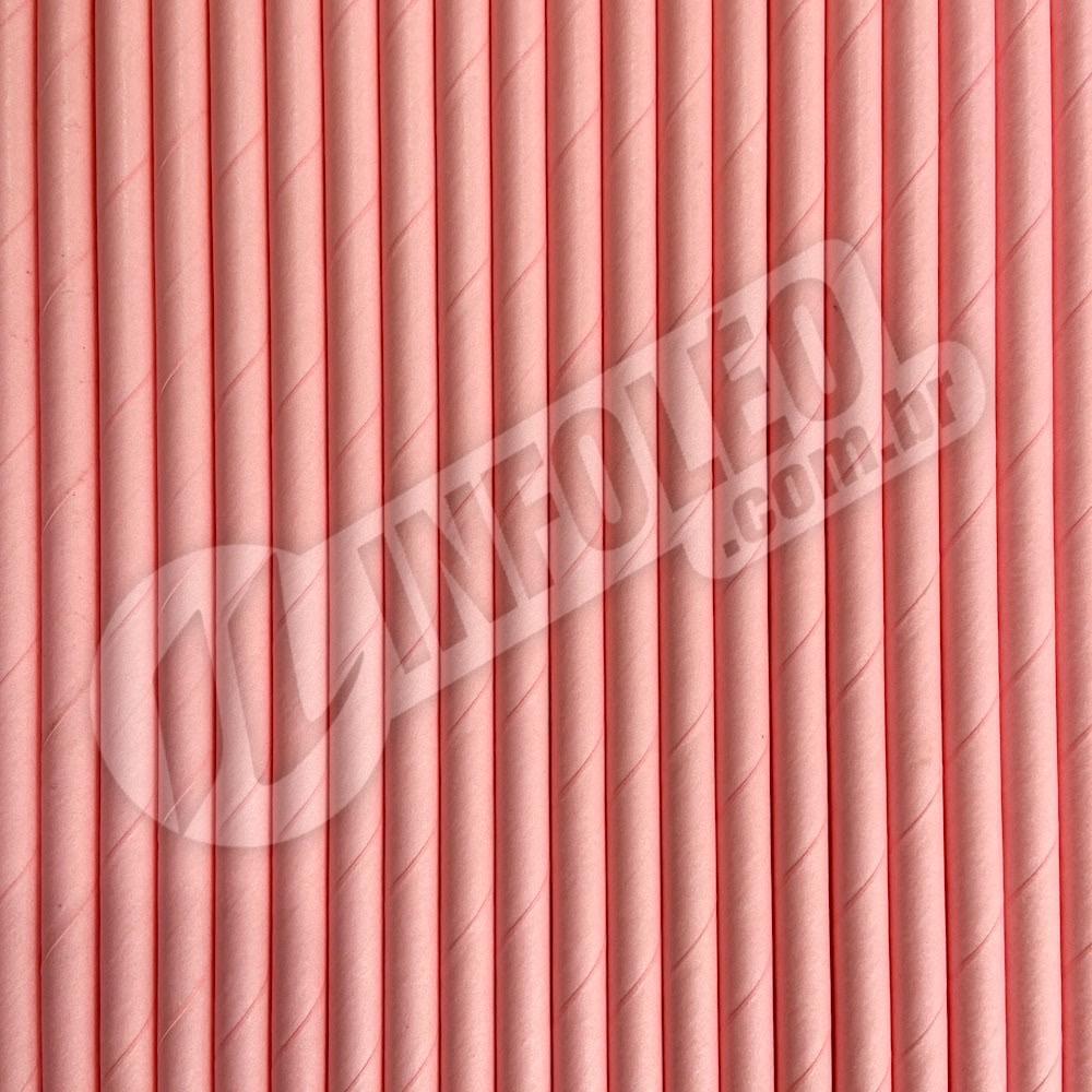 Canudo de Papel Rosa 6mmx200mm - 20 unidades