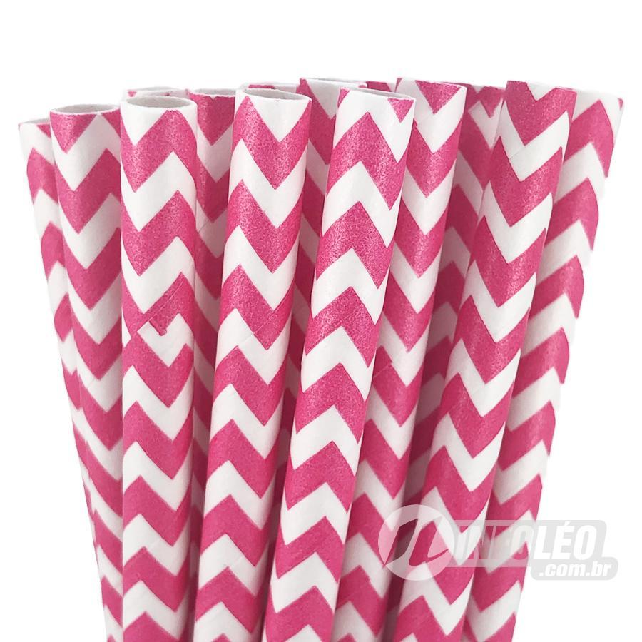 Canudo de Papel Zigue-Zague Rosa Pink e Branco - 20 unidades