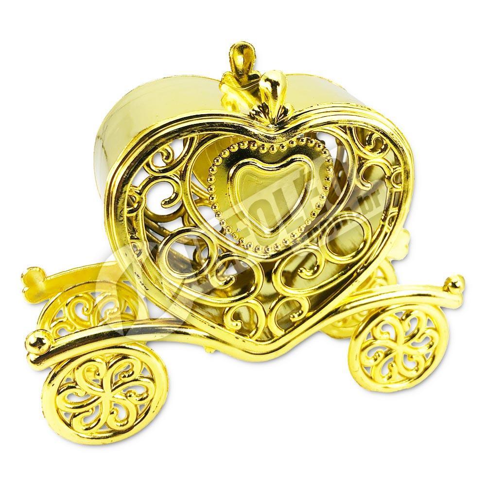 Carruagem Plástica Coração Dourada 3x9x10,5cm - Unidade