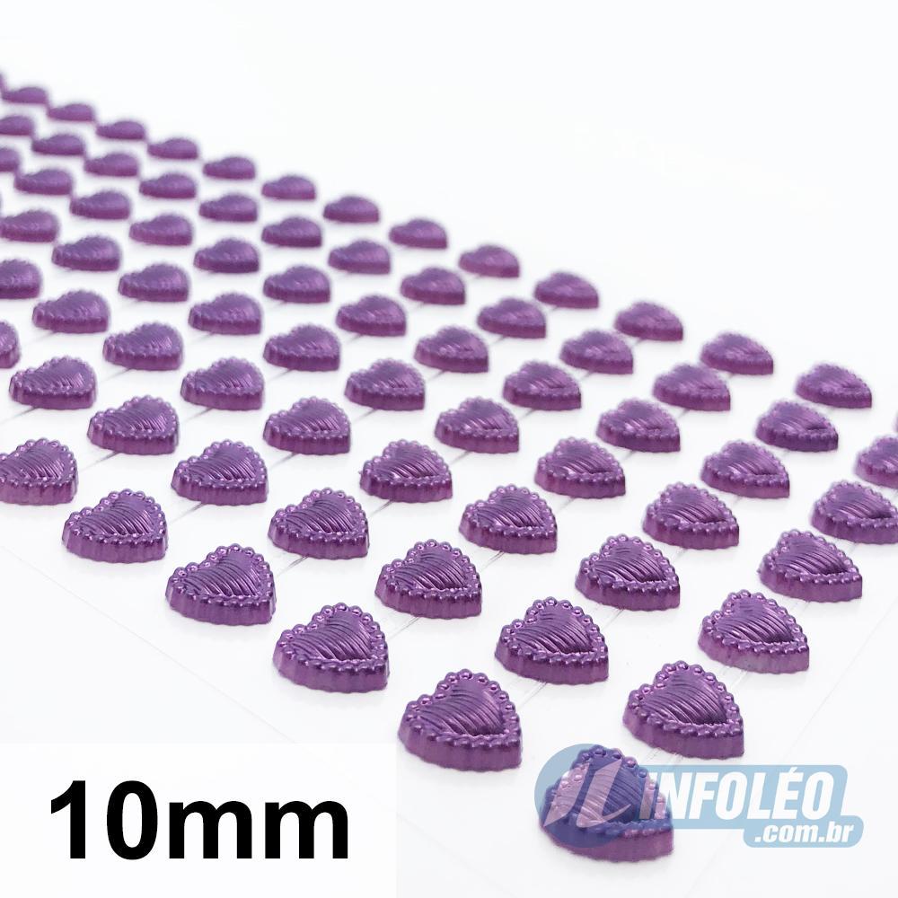 Cartela Adesiva Coração C/ Borda Vinho 10mm - 140 unidades