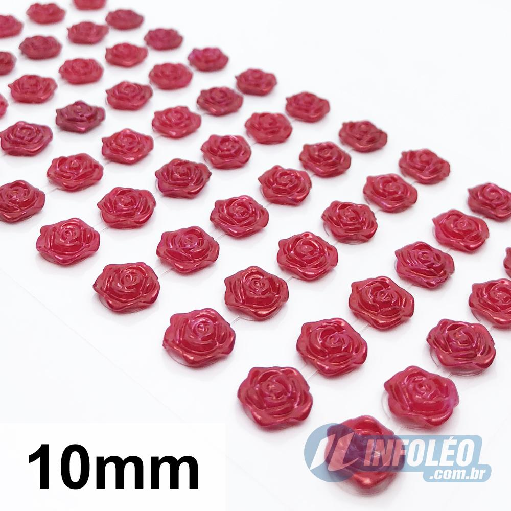Cartela Adesiva Flor Rococó 10mm Vermelho - 60 unidades