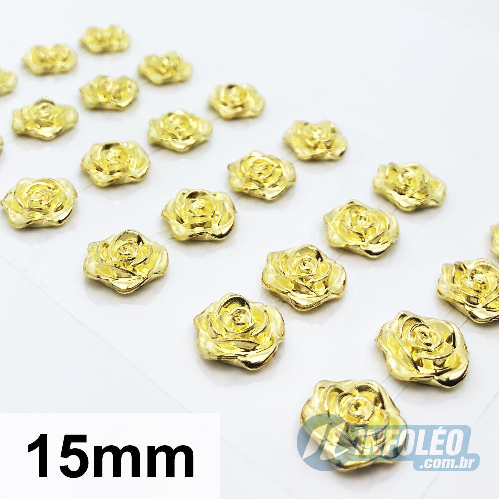 Cartela Adesiva Flor Rococó 15mm Dourado - 24 unidades
