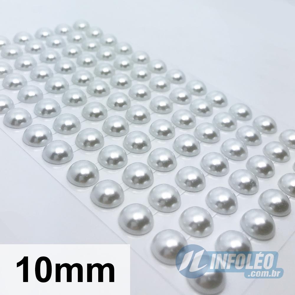 Cartela Adesiva Meia Perola 10mm Branco - 128 unidades