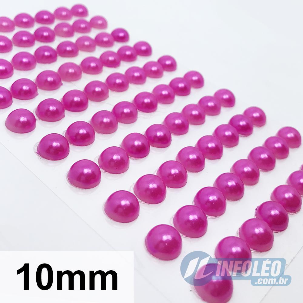 Cartela Adesiva Meia Perola 10mm Rosa Pink - 80 unidades