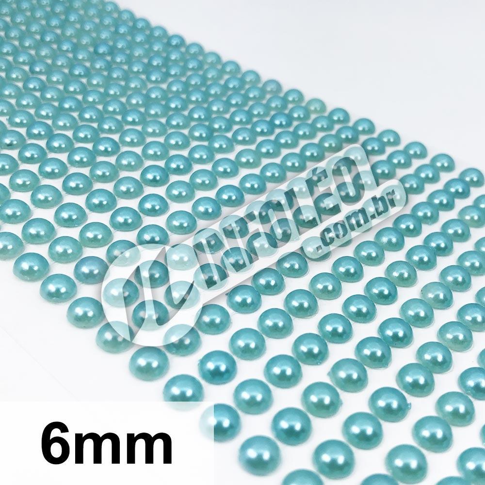 Cartela Adesiva Meia Perola 6mm Verde Tiffany - 504 unidades