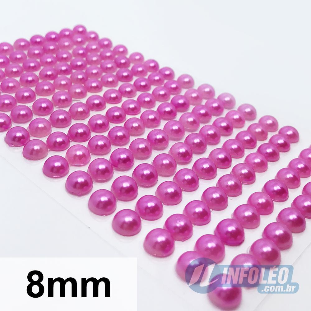 Cartela Adesiva Meia Perola 8mm Rosa Pink - 150 unidades
