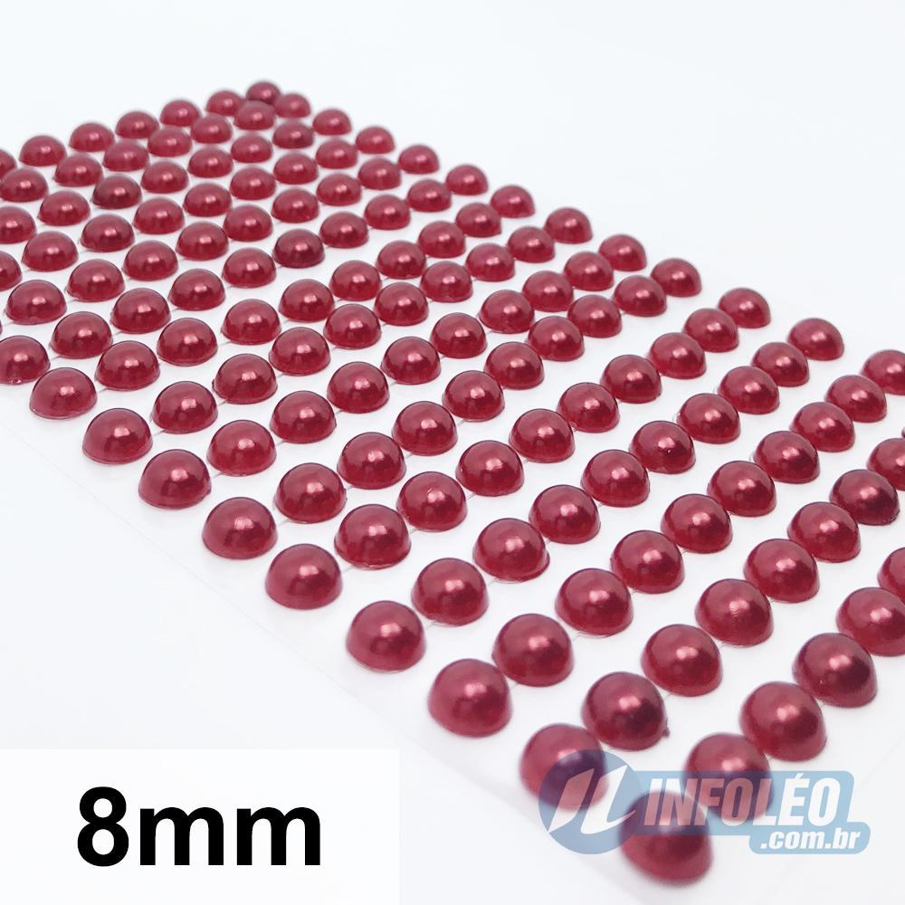 Cartela Adesiva Meia Perola 8mm Vermelho - 220 unidades