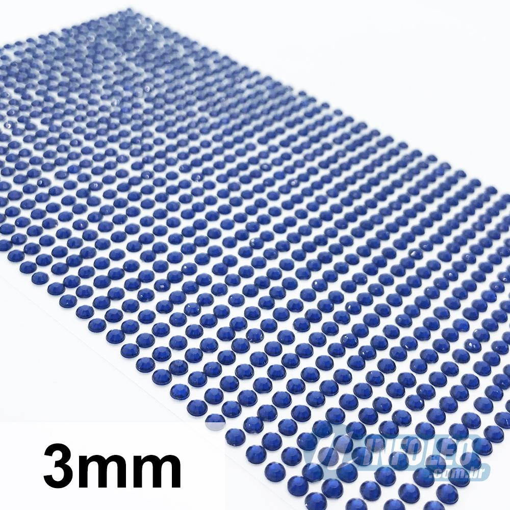 Cartela Adesiva Strass 3mm Azul Marinho - 1040 unidades