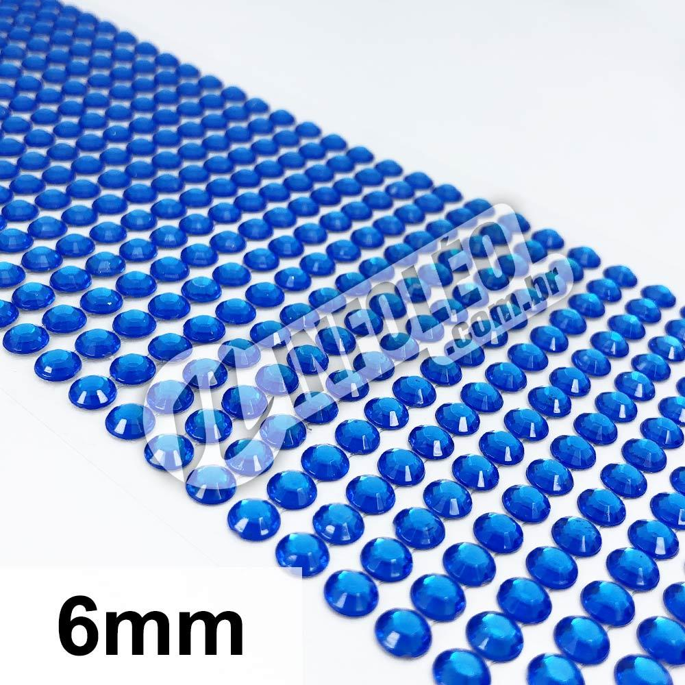 Cartela Adesiva Strass 6mm Azul Royal - 504 unidades