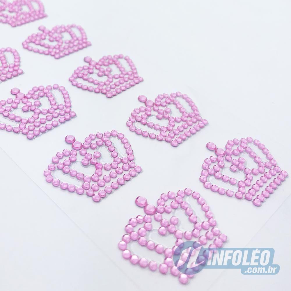 Cartela Adesiva Strass Coroa Rainha Rosa - 20 unidades
