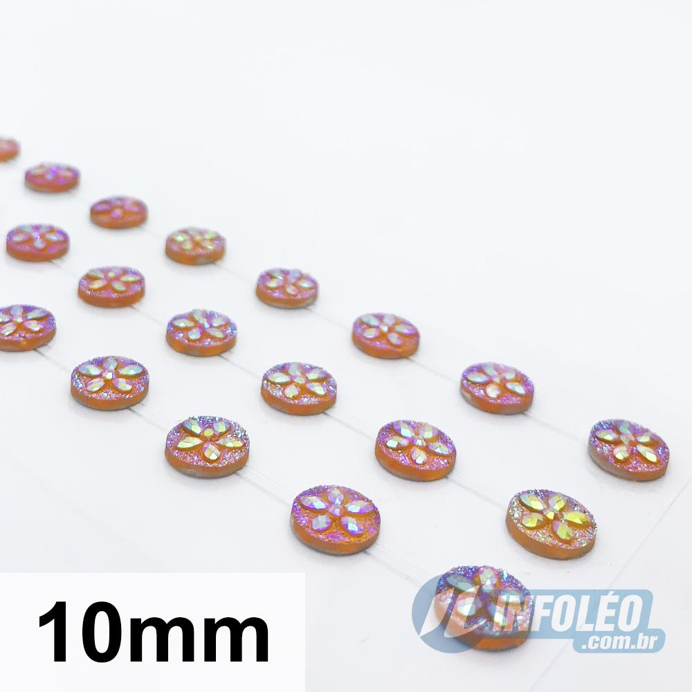 Cartela Adesiva Strass Mandala 10mm Ouro - 48 unidades
