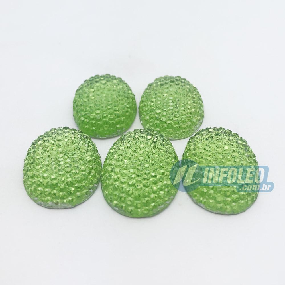 Chaton Acrilico Cascudo Oval 18x25mm Verde - 5 unidades