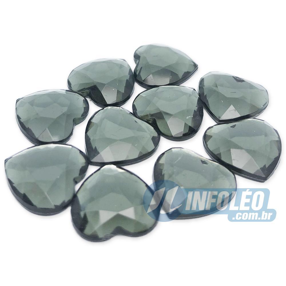 Chaton Acrilico Coração 15x15mm Verde LB0054 - 10 unidades