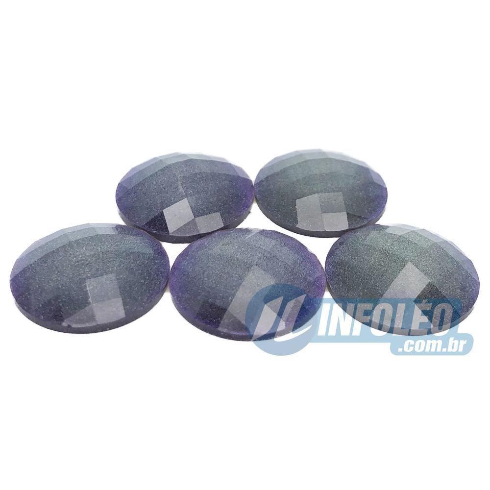 Chaton Acrilico Glitter Redondo 20mm Roxo - 5 unidades
