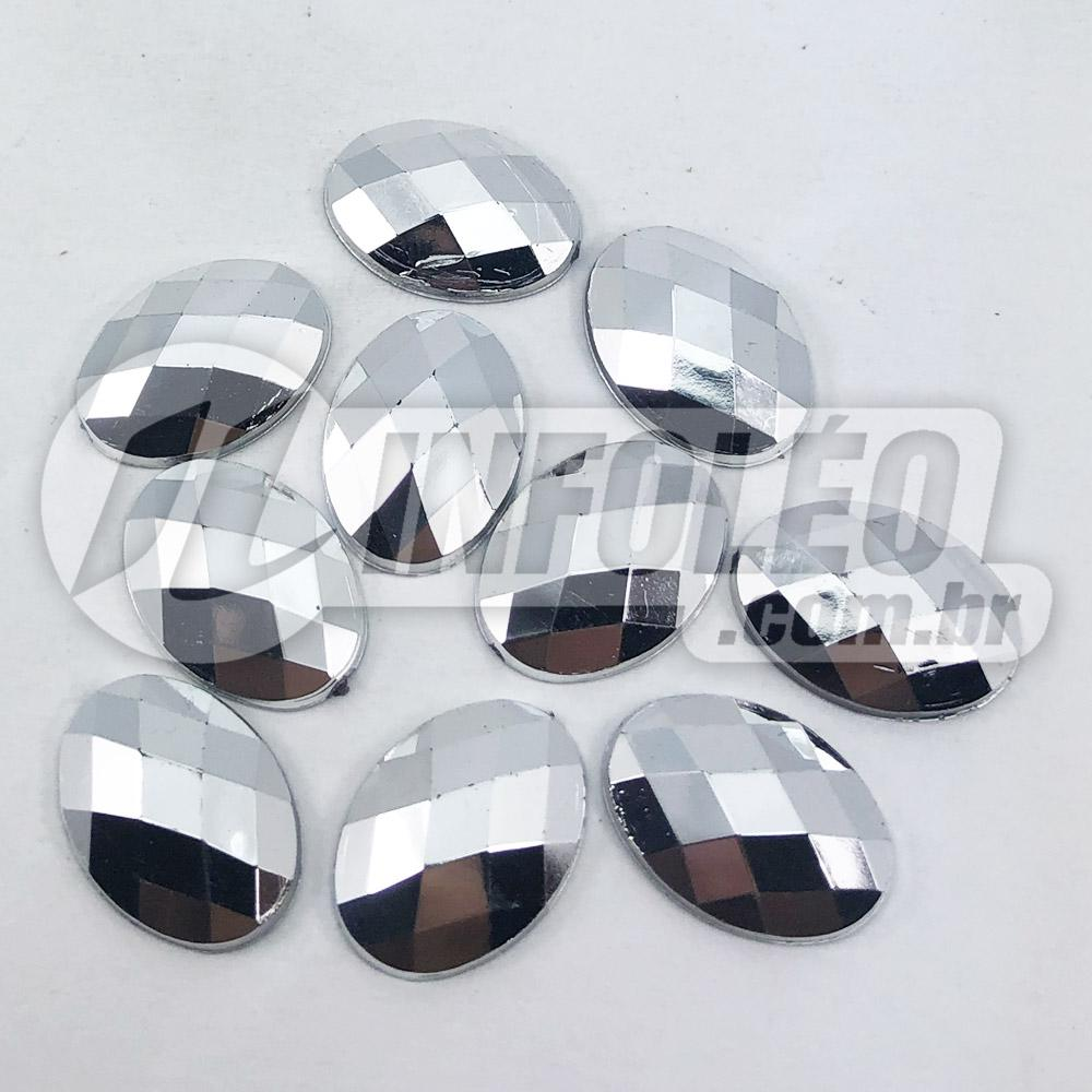 Chaton Acrilico Oval 10x15mm Prata Espelhado - 10 unidades